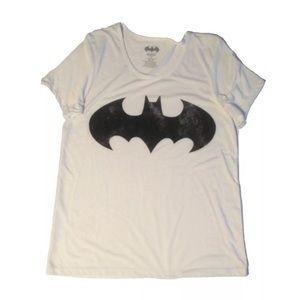 Batman Women's White Distressed Symbol T-shirt
